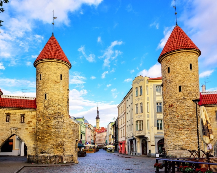 Twin towers of Viru Gate in the old town of Tallinn, Estonia. The country adapted their campaign on Twitter from 'Visit Estonia' to 'Visit Estonia, later' #stayhome. Photo: © Boris Stroujko/Shutterstock