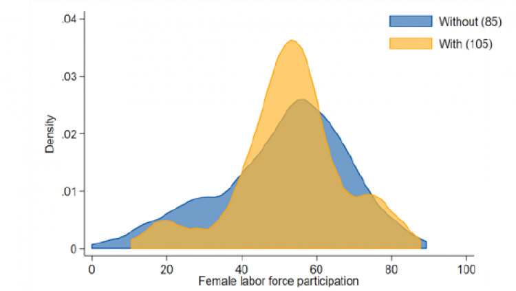 Women are more likely to participate in the labor market in countries where there is paid paternity leave