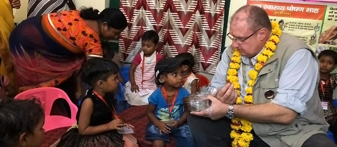 Hartwig Schafer visits a school in India.