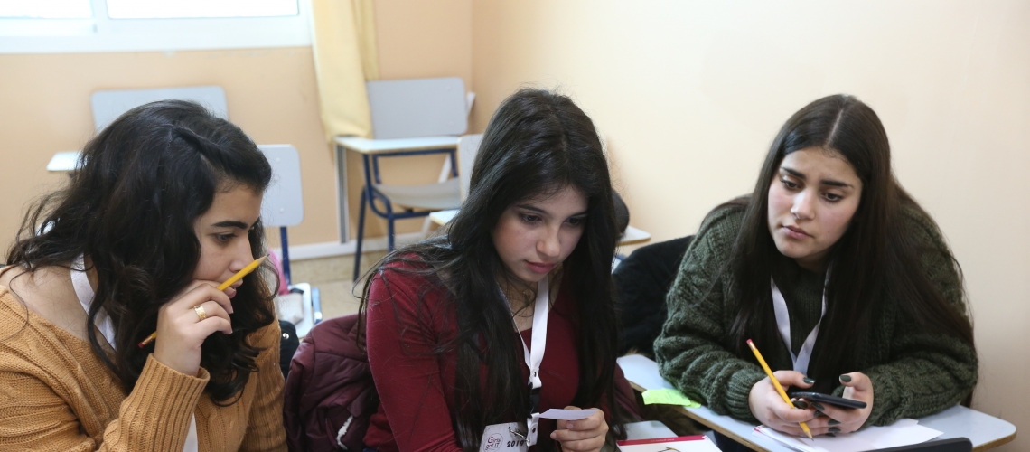 Young women working together in Lebanon.