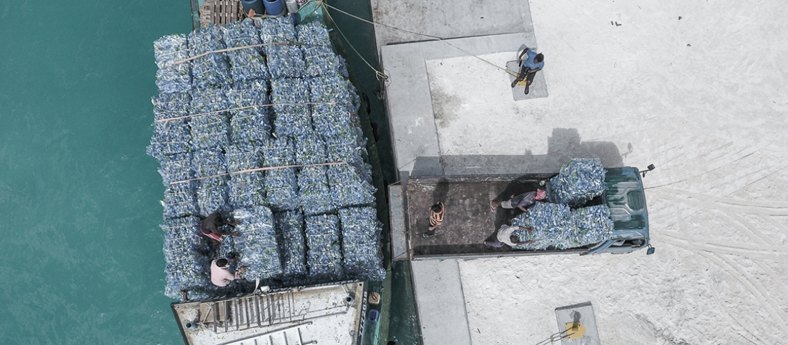 Intercepted plastic waste is baled and transported for recycling through Parley collaborations in the Maldives. Photo: Parley for the Oceans