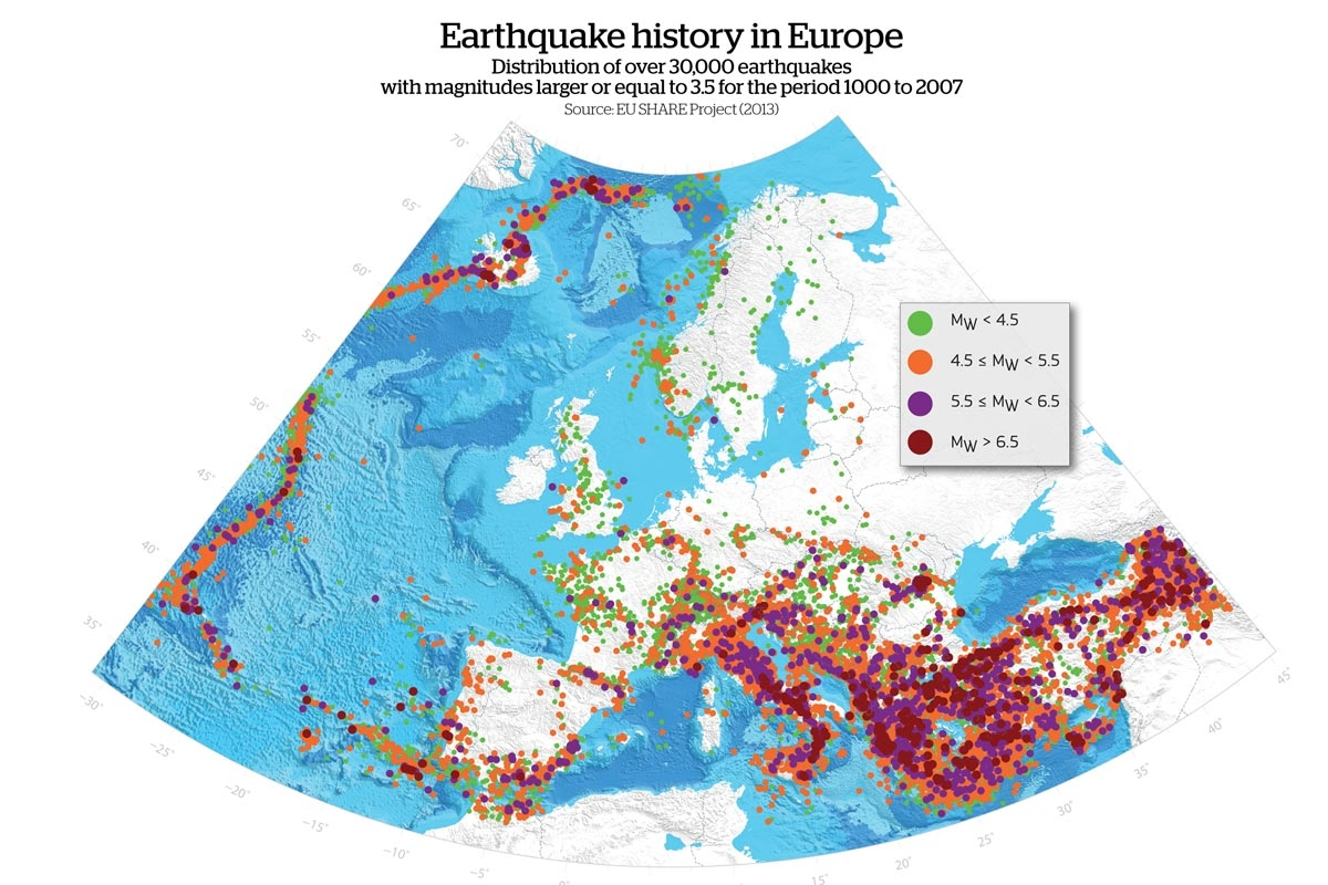 As part of the Global Earthquake Model (GEM), the EU-SHARE project ('Seismic Hazard Harmonization in Europe') generated the first regional seismic hazard model for Europe (including Turkey), overcoming the limitation of national borders. (EU-SHARE)