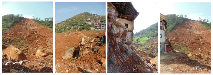 Areas affected by the August 2017 mudslide in Freetown, Sierra Leone.