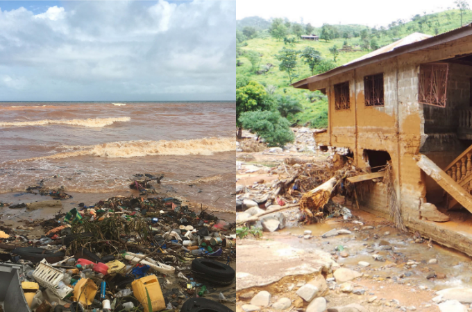 (Photo 1 – debris and clay washed into the sea,   Photo 2 – damaged housing close to the river bank. Photo credit – World Bank)