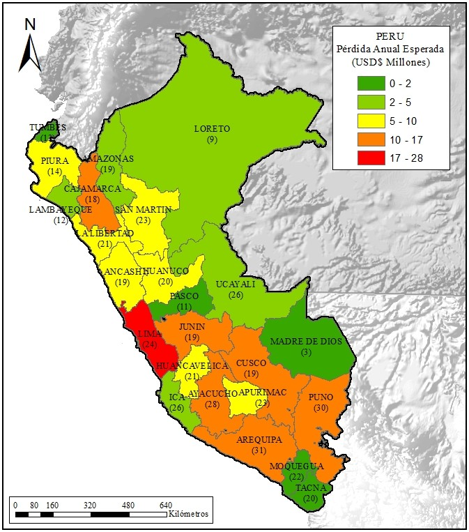 Figure 1. Seismic risk assessment of school infrastructure in Peru. Geographical distribution of Average Annual Loss