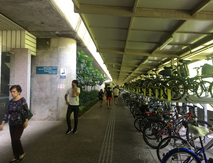 Covered walk pathways and multi-level bicycle racks
