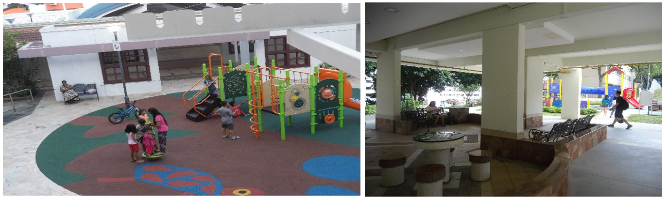 A typical HDB neighborhood with all amenities.