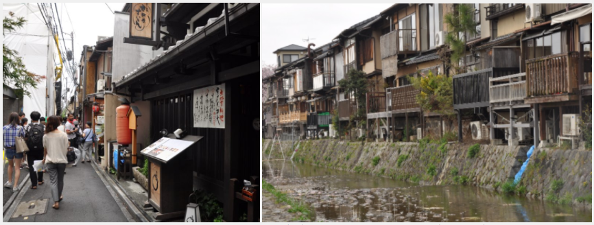 A Ponto-cho restaurant affected by a fire in 2016 (left) and Ponto-cho from the river area. (Barbara Minguez Garcia / World Bank)