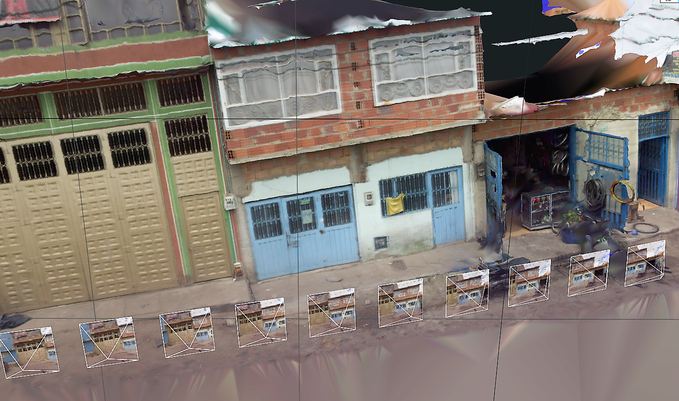 In Bogota, Colombia, street-view images were taken frequently enough for the construction of a 3D model built. The smaller boxes represent where the camera was in space. (Photo: Sarah Elizabeth Antos / World Bank)
