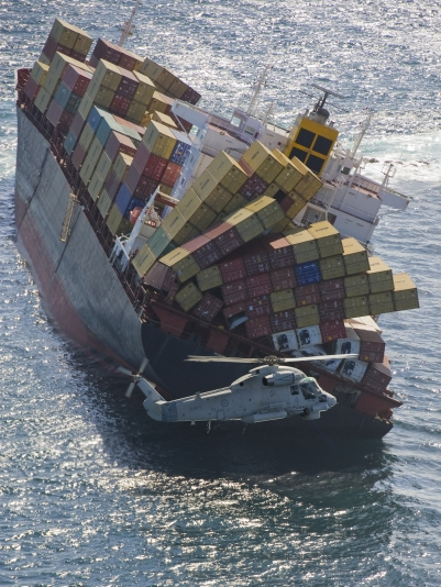 A cargo ship toppling over