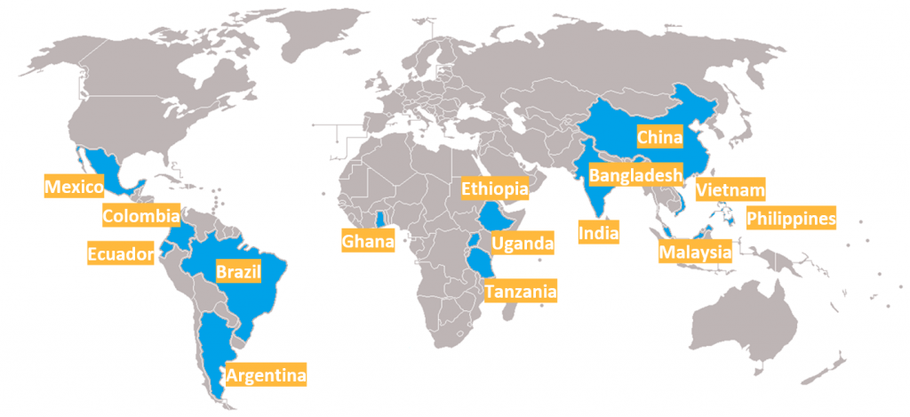 Countries covered by the Bloomberg Philanthropies Initiative for Global Road Safety 2020-2025