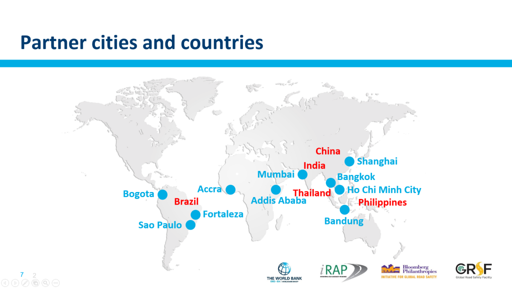 Cities and countries targeted by the Bloomberg Philanthropies Initiative for Global Road Safety (BIGRS)