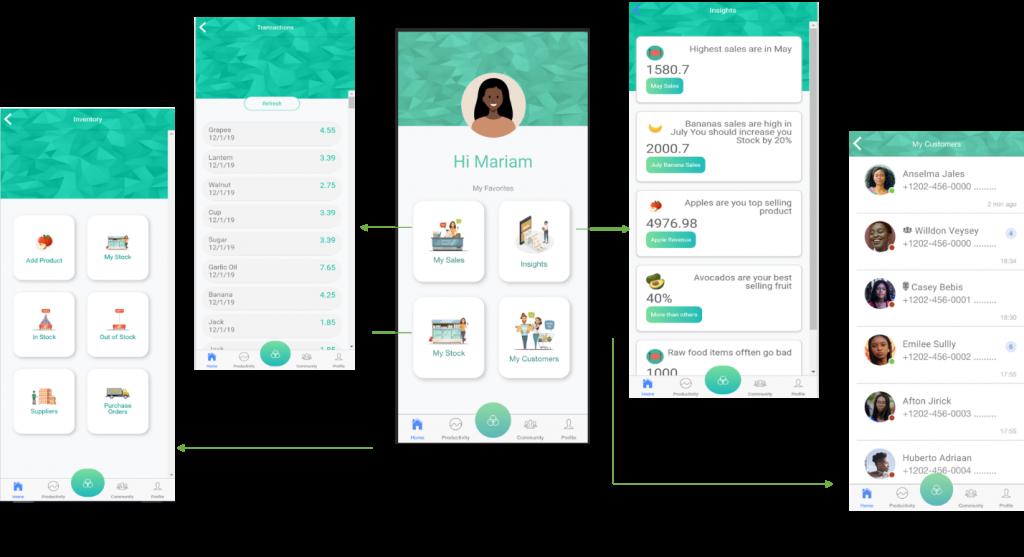 Select User Interface Screens in the WEDP Entrepreneur Mobile App Prototype.