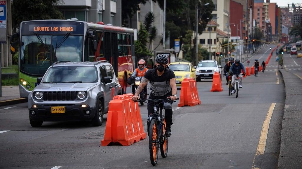 Cyclist in Bogota, Colombia. Photo: Secretaria de Movilidad of Bogotá