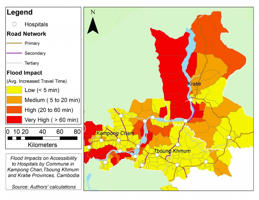 Map showing the impact of flooding on access to hospitals in rural Cambodia.