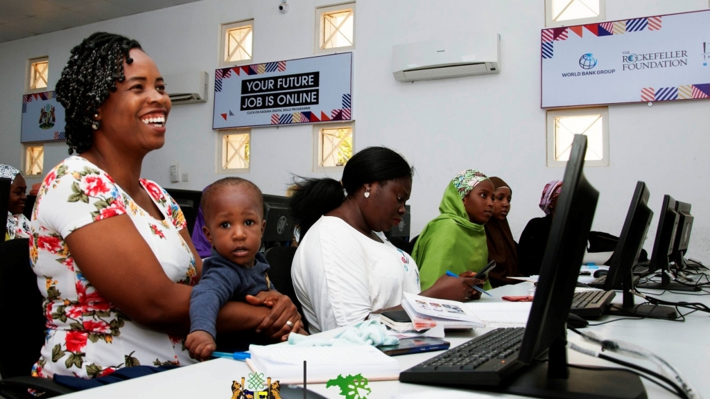 A participant and her son enjoying the Click-On Kaduna digital skills training program in Kaduna State, Nigeria. Photo: Click-On Kaduna Program.