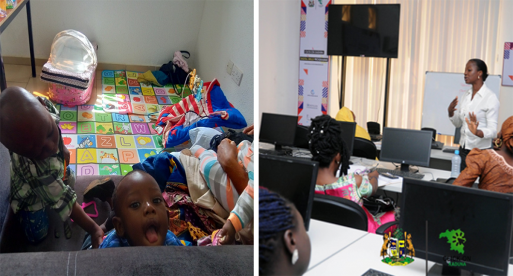 Left: Children enjoying the Click-On Kaduna program childcare facilities. Right: Participants during a women-only soft skills training course. Photos: Click-On Kaduna Program.