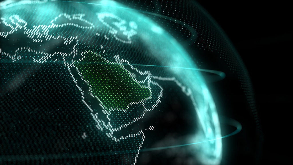 Map of Saudi Arabia with hologram effect. Mohamad Elyoussoufi/Shutterstock