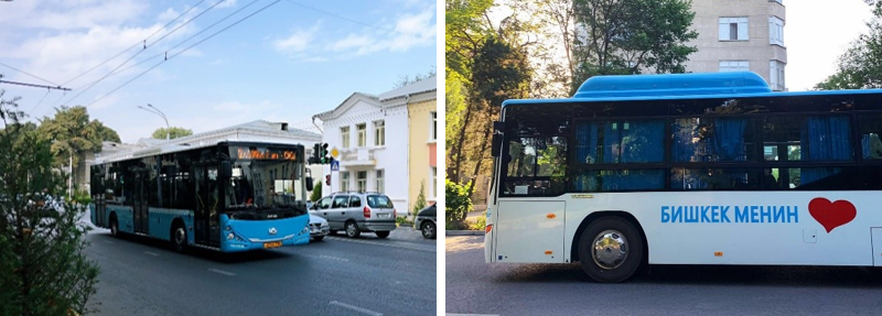 Left: A new diesel bus in Dushanbe. Right: A new CNG bus in Bishkek.