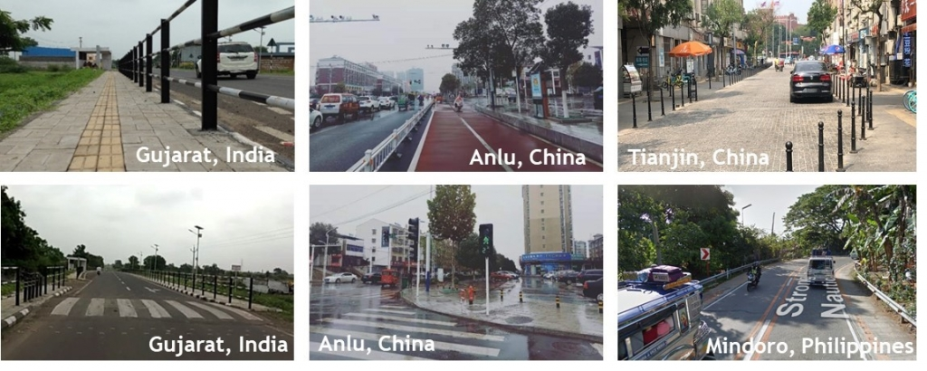 Collage from a few World Bank projects influenced by the Bloomberg Philanthropies Initiative for Global Road Safety (BIGRS).