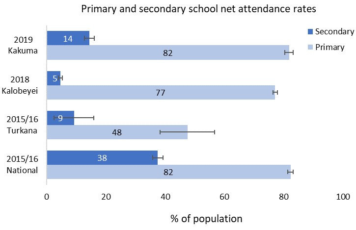 Primary and secondary school net attendance rates