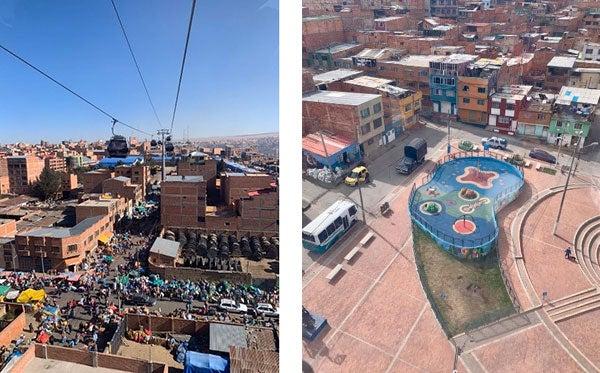 Izquierda: Intervenciones urbanas en el entorno del Transmicable, Bogotá. Fotografía: Irene Portabales/ Banco Mundial {} Derecha: Aprovechamiento del espacio urbano gracias a la reducción del tráfico ocasionada por MiTeleférico, La Paz. Fotografía: Irene Portabales/ Banco Mundial