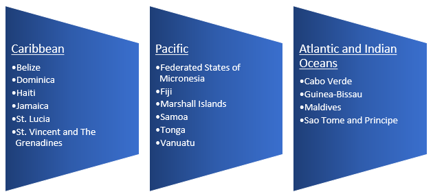 small island states included in the data review