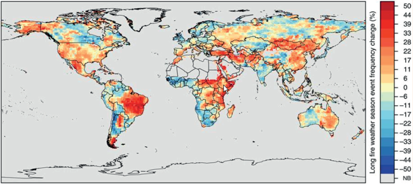 Global Changes in the Frequency of Long Fire Weather Seasons Over 1979-2013 due to Climate map