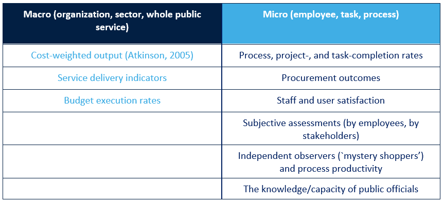 Macro and Micro Approaches to measure public-sector productivity