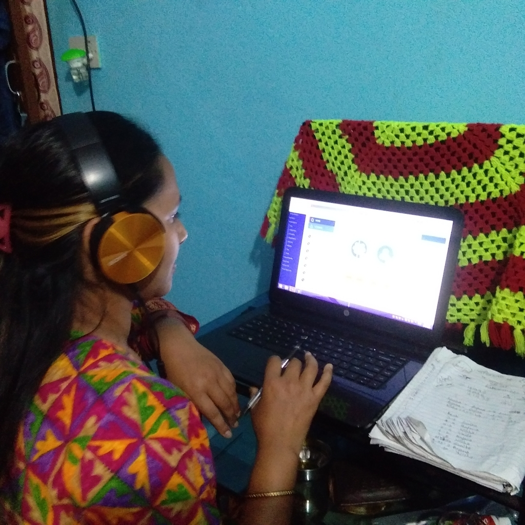 A helpline officer working from home