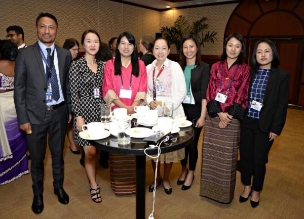 Kinley Wagmo and the author (3rd and 4th from the left) with Bhutan Representatives at the WePOWER Manila Forum, November, 2019