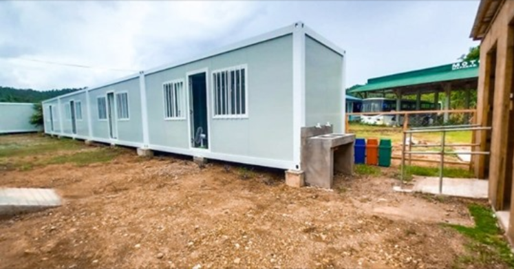 Container vans converted into COVID-19 isolation facilities in Mapanas, Northern Samar