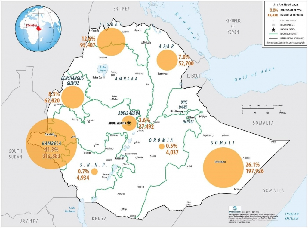 A map of refugees and refugee-hosting regions in Ethiopia