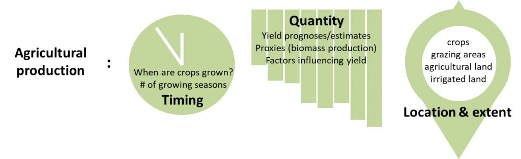 Agricultural production is characterized by three variables: extent (land utilization), timing (cropping intensity), and quantity (crop yield) (Credits: EO4SD-agriculture, eLEAF for ESA/World Bank, 2019)