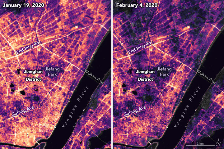 Changes in activity around the city of Wuhan, China, between January 19 and February 4, 2020, as observed by nighttime lights. Source: NASA's Goddard Space Flight Center (GSFC) and Universities Space Research Association (USRA)