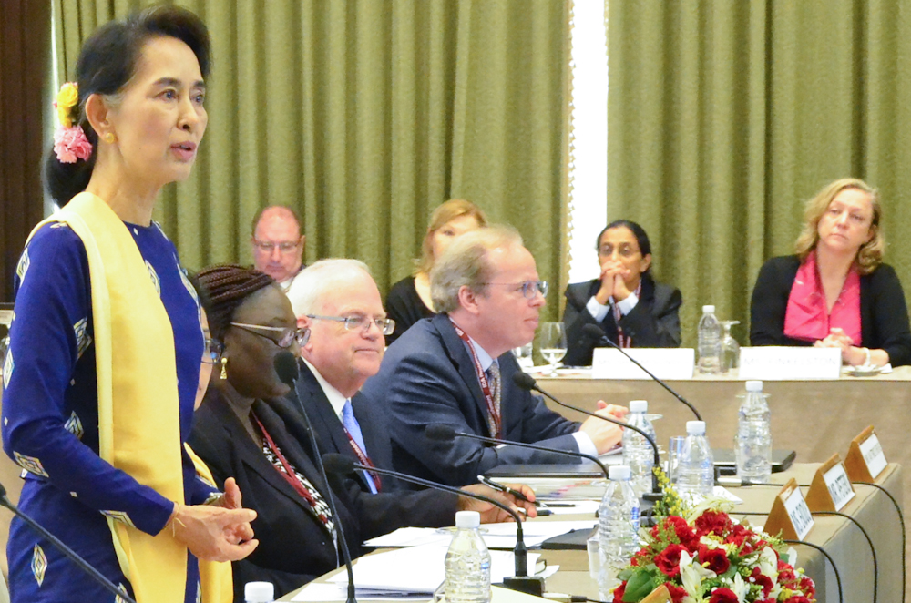 Aung San Suu Kyi, state counselor and minister of foreign affairs for Myanmar, addresses an IDA 18 replenishment meeting on June 21, 2016. © Aung San/World Bank