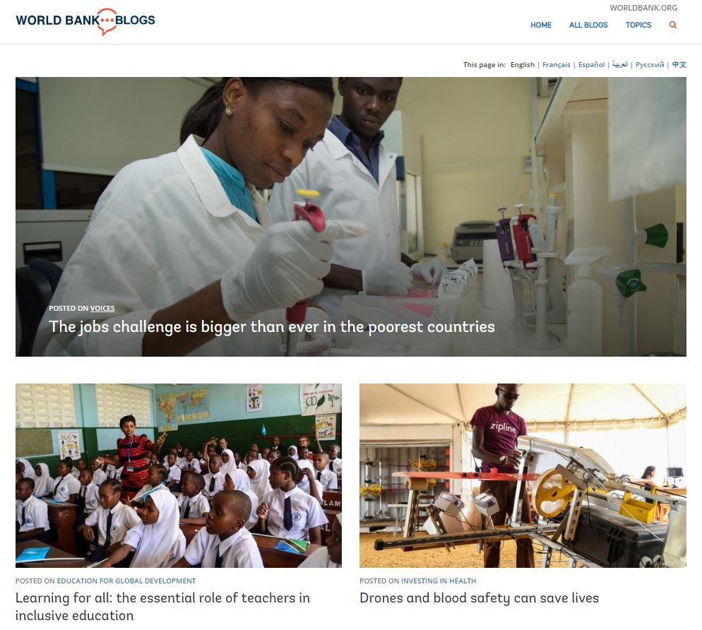 The beta site homepage of the redesigned World Bank Blogs website. © World Bank