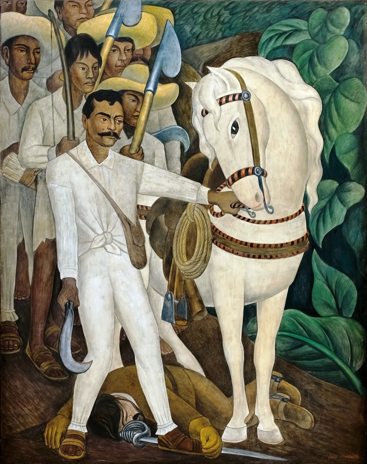 Mural of Emiliano Zapata and Displaced Mexican Campesinos by Diego Rivera, Palacio de Cortés, Cuernavaca, Mexico