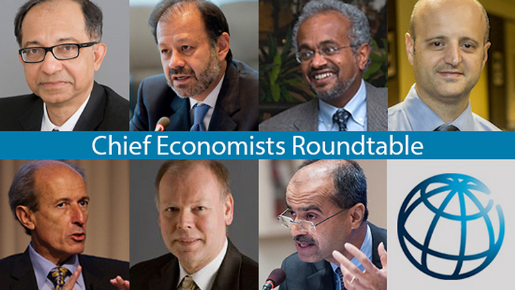 World Bank chief economists, clockwise from upper left: Senior Vice President and Chief Economist Kaushik Basu, Augusto de la Torre (Latin America and the Caribbean), Shanta Devarajan (Middle East and North Africa), Francisco Ferreira (Sub-Saharan Africa), Sudhir Shetty (East Asia and Pacific), Hans Timmer (Europe and Central Asia), Martin Rama (South Asia).