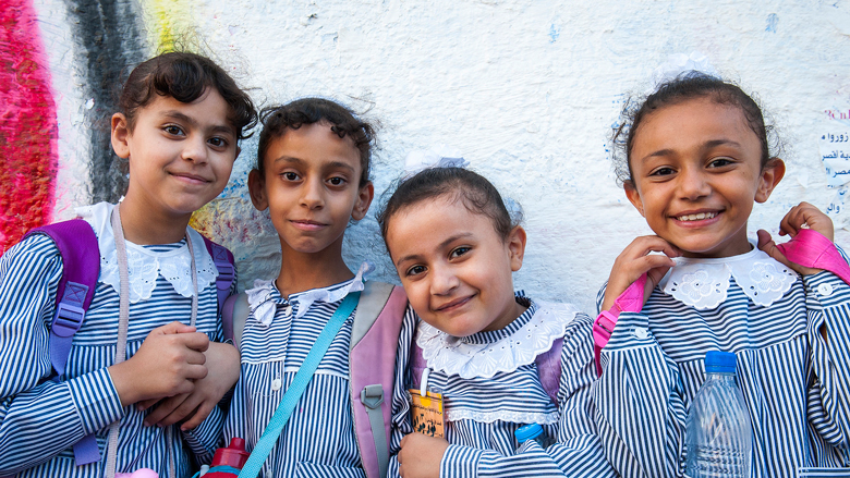Primary school students in Gaza City. © Arne Hoel / World Bank