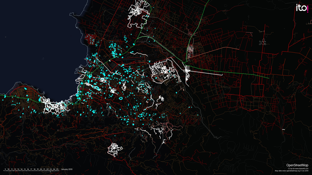 This OpenStreetMap visualization was made after the 2010 earthquake in Haiti by ItoWorld/OpenStreetMap.