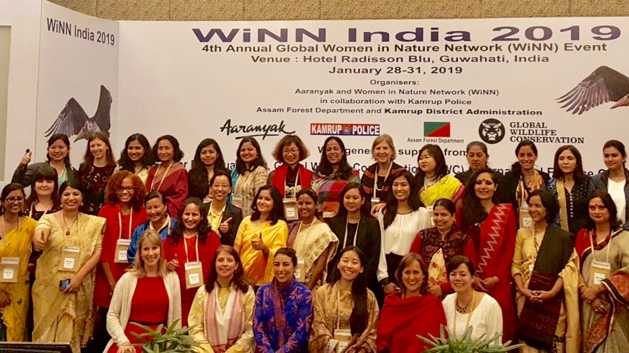 Over 70 women from more than 10 countries attended the Women in Nature Network's (WiNN) annual networking event in January 2019 in Guwahati, India, to share experiences to enhance conservation impacts. Photo: © Courtesy of WiNN.