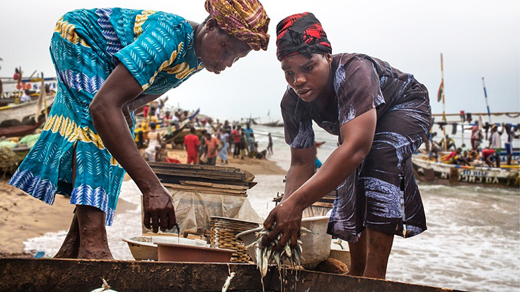 Women fishers in Ghana. (Andrea Borgarello/World Bank - TerrAfrica)