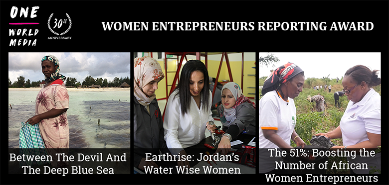 The three One World Media finalists for We-Fi's Women Entrepreneurs Reporting Award.